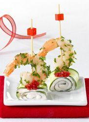 Recept » Colruyt Culinair (mini brochette met komkommer en garnaal)