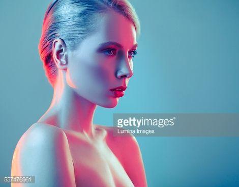 Stock Photo : Caucasian woman with glamorous hairstyle