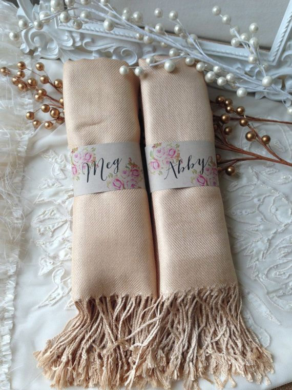 Bridesmaids thank you gift for winter wedding - champagne-colored, Pashmina shawls {Courtesy of Etsy}