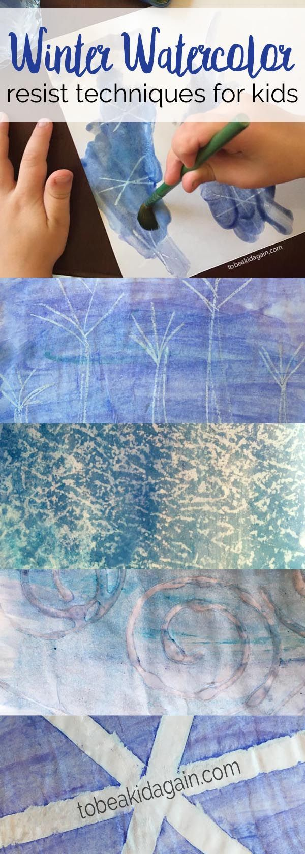Simple water color resist techniques for kids. Use crayon, wax paper, glue, and tape to create beautiful winter crafts with kids!