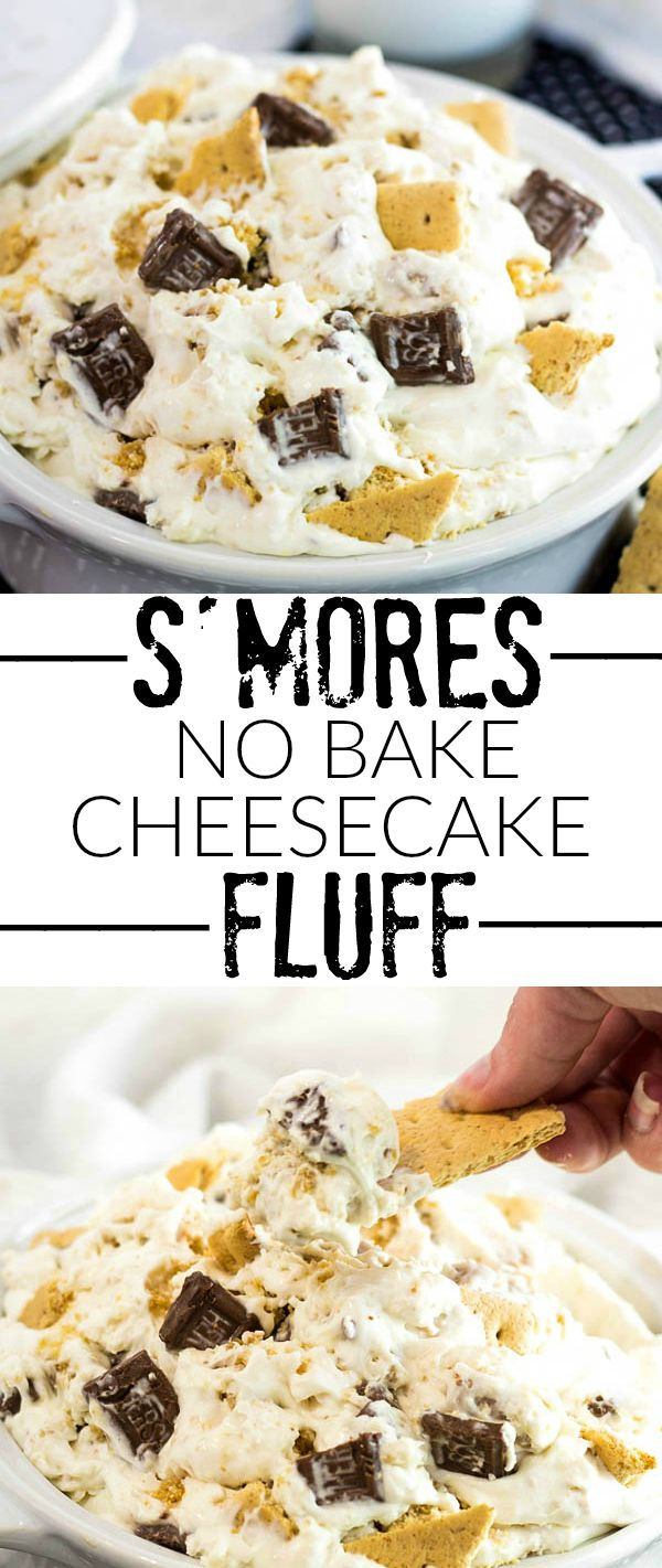 S'mores No Bake Cheesecake Fluff. Creamy, delicious and ready for summer!