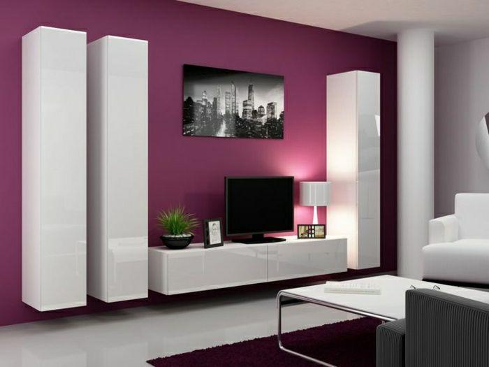 table de tv violet   mur-violet-salon-beau-meuble-laqué-blanc-tv-console-noir-tapis-violet ...