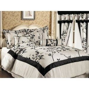 luxury bags 7 Pieces Ivory and Black Luxury Bamboo Branch Comforter/bed-in-a-bag Set Queen Size Bedding fashion bags