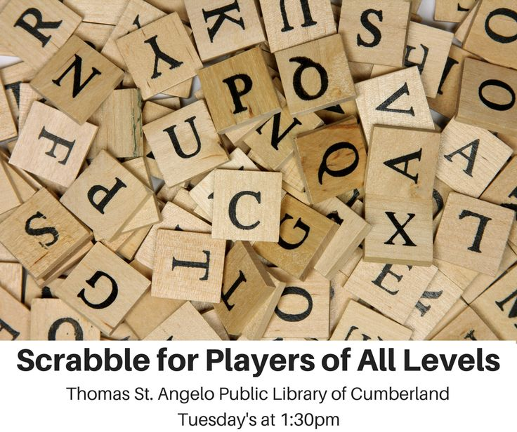 What's an 8-letter word for fun? S-C-R-A-B-B-L-E! Come play every Tuesday at the Cumberland Library.