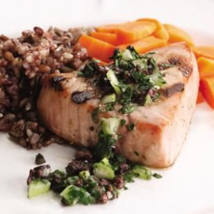 ; the simple relish of parsley and olives jazzes up your grilled tuna ...