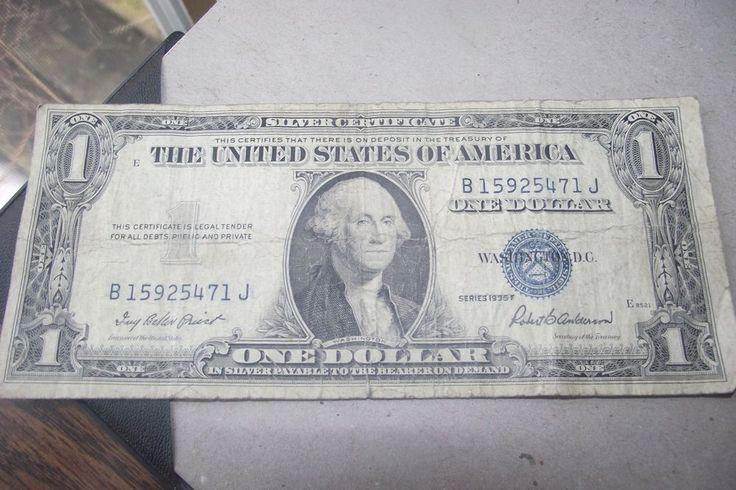 1935F Silver Certificate Dollar Bill USA Paper Money Blue Seal