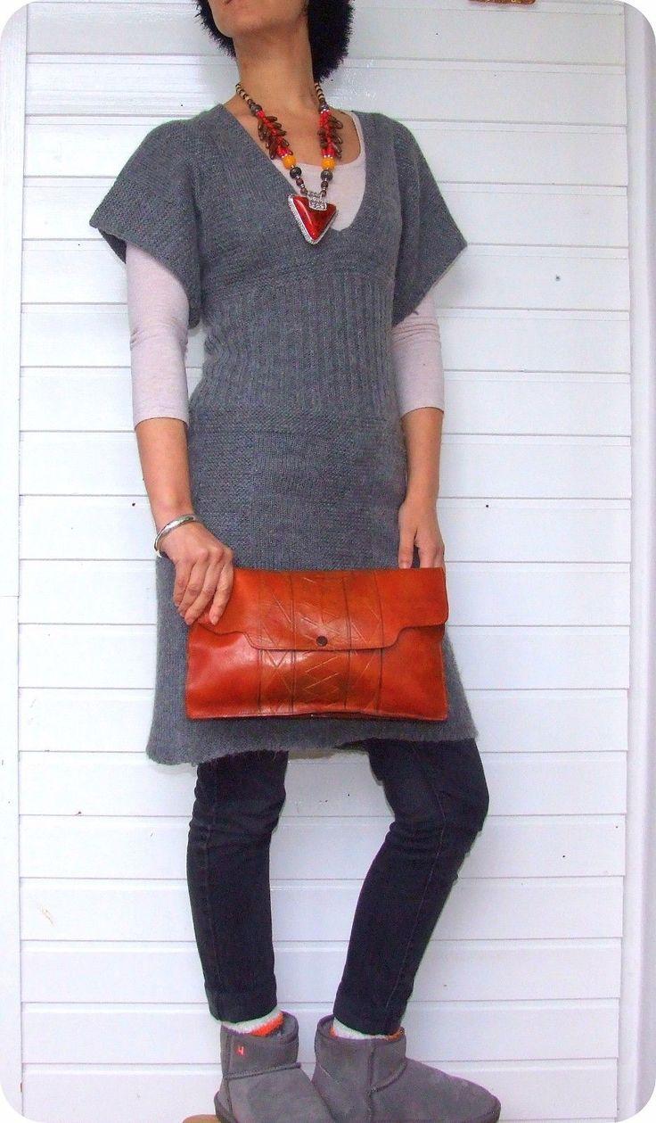 VINTAGE BOHO Leder Tasche Clutch Leather Bag Purse Braun Ethno Boho Hippie Goa in Kleidung & Accessoires, Damentaschen | eBay