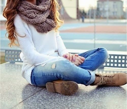 Gorgeous White Sweater and Scarf, Blue Jeans and Leather Boots