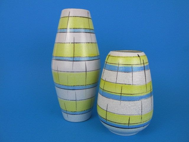Set aus zwei Mid Century Vasen / 60er Jahre / Set of two West German Pottery vases / Bay Keramik  / west German Pottery von ShabbRockRepublic auf Etsy
