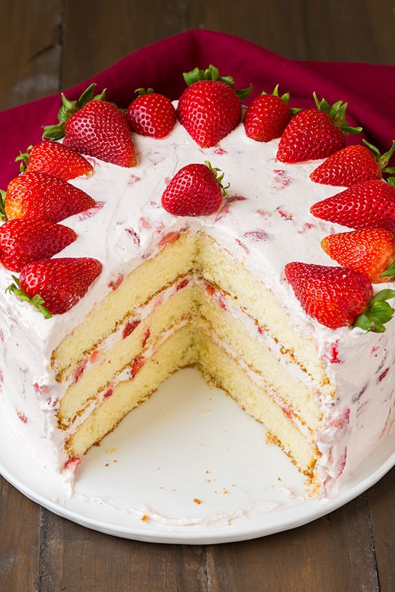 Fresh Strawberry Cake | Cooking Classy *Made it: frosting is delicious, cake came out a little dry.