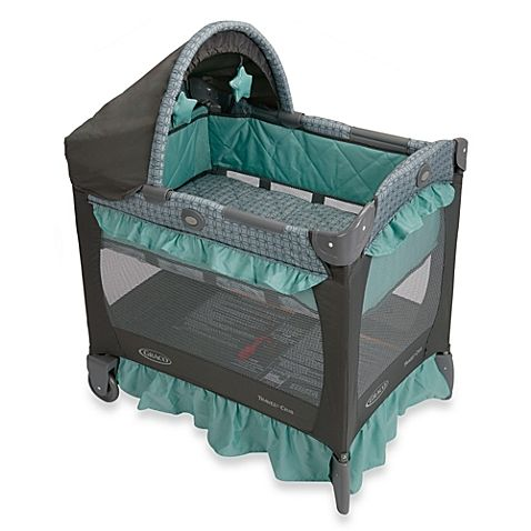 For parents who want to keep their sleeping infant close by, this Graco® Travel Lite® Crib is the perfect spot. It's 20% smaller than traditional playpens and features a removable full bassinet with quilted side panels and a canopy with soft toys.