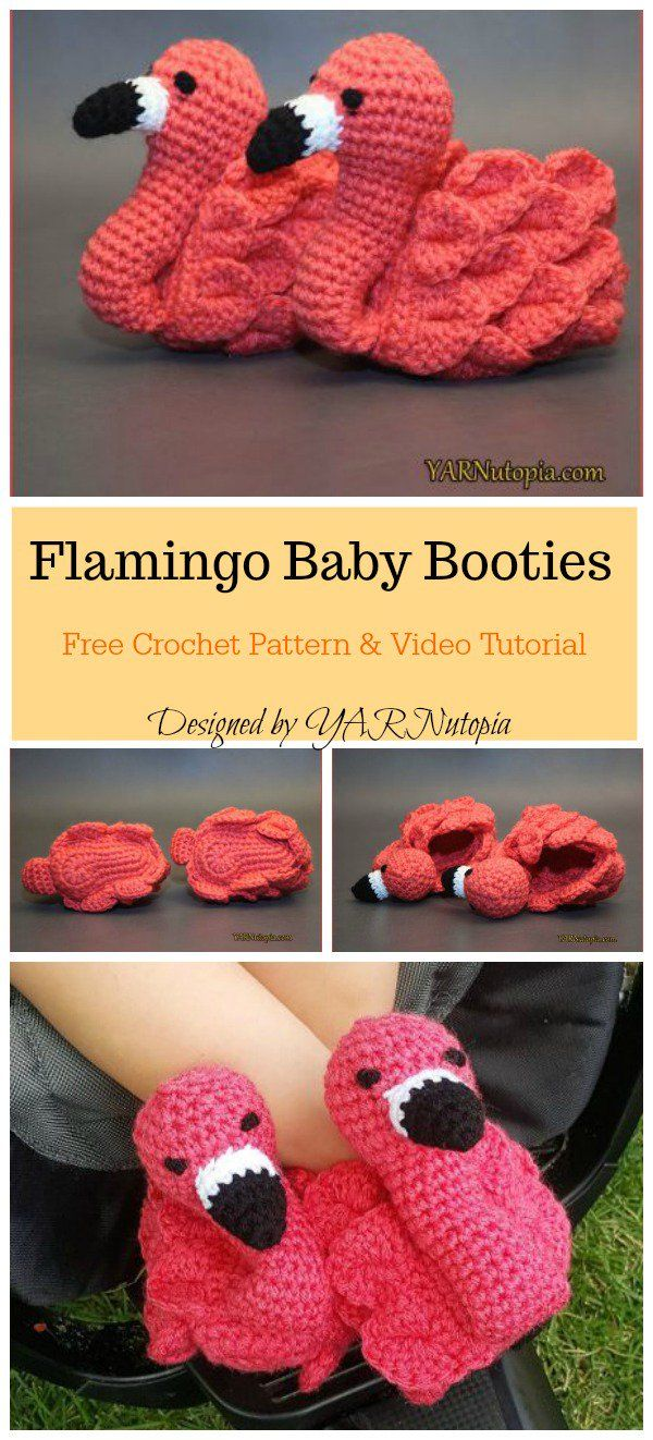 Cute Flamingo Baby Booties Free Crochet Pattern and Video Tutorial Mandy Selia