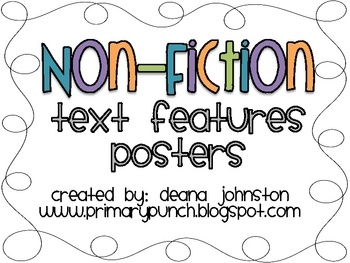 FREE. contains colorful posters to teach 14 non-fiction text features!: Features Guide Words Title, Text Features, Texts Features Guide, Teaching 14, Non Fict Texts, Features Posters, Colors Posters, 14 Non Fict, Nonfiction Texts