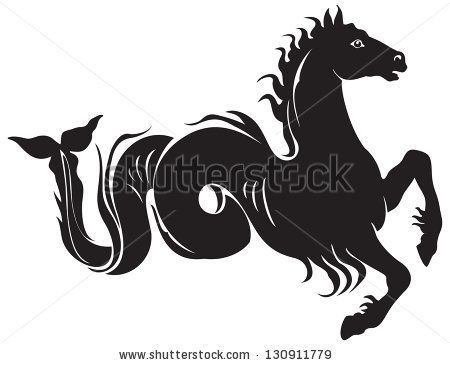 Ancient Greek mythological animal hippocampus, Poseidon sea horse, mythological creature shared by Phoenician  and Greek mythology. Seaman, ...
