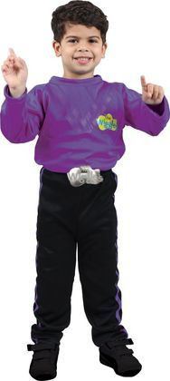 It's fun time with The Wiggles! Dress up in this The Wiggles Lachy Boys Costume featuring a purple skivvy with logo and black pants with purple stripes down each side.