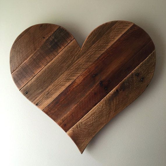 We make this rustic heart by hand from reclaimed lumber. Each board is chosen for its unique character and arranged in a mix of Pine, Poplar, Cedar &: