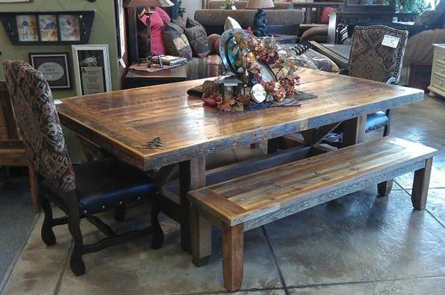 Bradley's Furniture has been working exclusively with our local custom log and barnwood builders for over 30 years, and has recently introduced our new line of dining room furniture. Description from utahrusticfurniture.com. I searched for this on bing.com/images