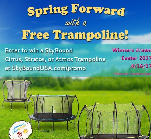 Win a $500.00 Skybound Cirrus 14' Trampoline, SkyBound Atmos 8' Trampoline or SkyBound Stratos 12' Trampoline.  This spring, SkyBound is hosting another free give-a-way competition for a SkyBound trampoline ending on Easter 2017, or April 16, 2017.