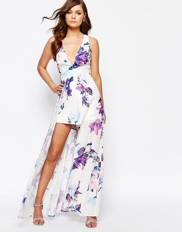 Ginger Fizz Printed Romper With Maxi Overlay on ShopStyle