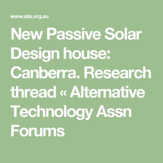 New Passive Solar Design house: Canberra. Research thread « Alternative Technology Assn Forums