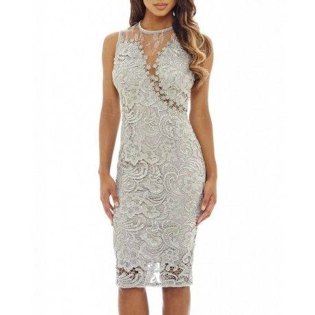 Ekskluzywna szara koronkowa sukienka midi z siateczką