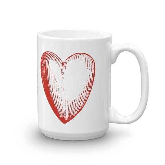 Charming BIG RED HEART Doodle Love Theme Bright Flashy Design Ceramic Coffee Mug