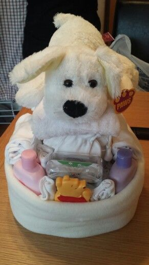 Doggy bed nappy cake :) neutral