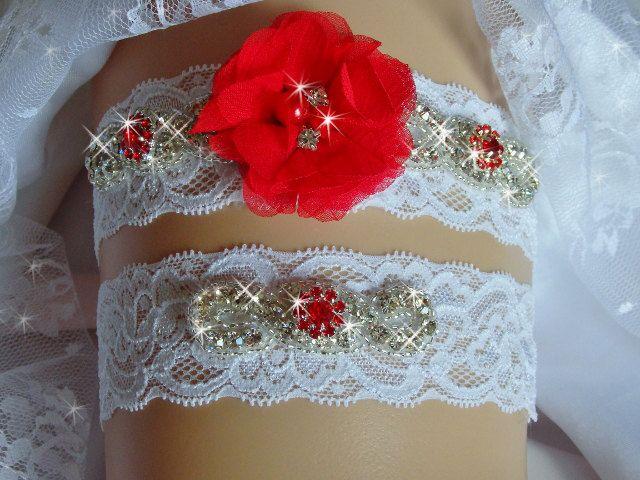 Red Wedding Garter, Ruby Garter Set, Wedding Clothing, Wedding Garter Set, Toss Garter, Jeweled Lace Wedding Garter, Bridal Garter Belts by bridalambrosia on Etsy