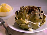 Giada's Baked Artichokes with Gorgonzola and Herbs.  We made these once...with a lot more cheese of course:)  They were delicious and beautiful!