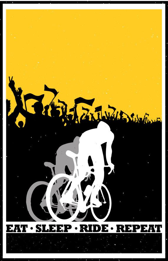 Retro motivational cycling poster2 colour silhouette: Eat Sleep Ride Repeat 11X17 perfect for that stylish man-cave. Gallery quality Giclée