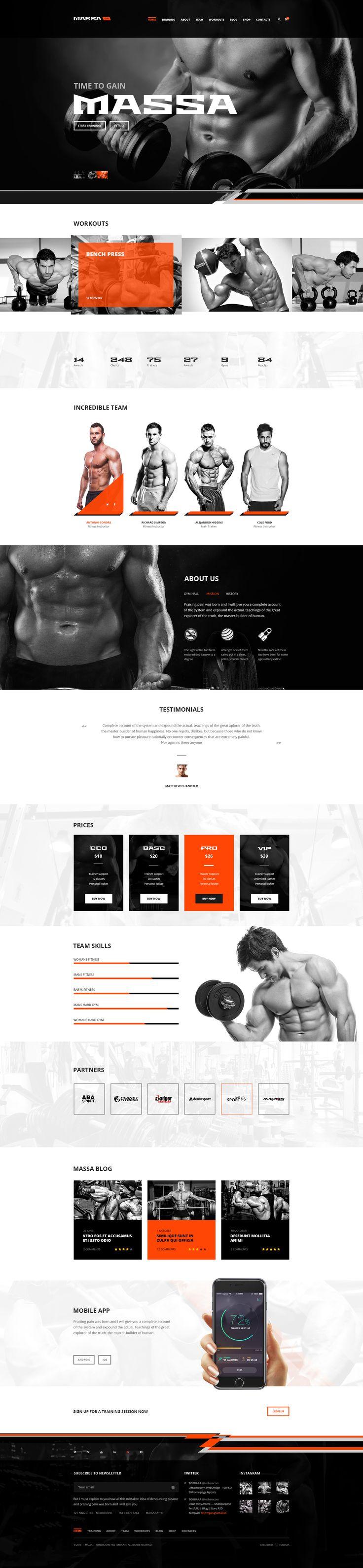 Massa — Fitness/Gym/Sports Blog PSD Template • Download ➝…