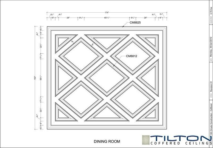 Coffered Ceiling Design Drawing - Diagonal 13