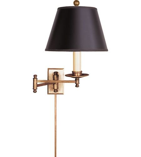 visual comfort chd5101abb e f chapman dorchester 22 inch 100 watt brass swingarm wall light in antique burnished brass black paper