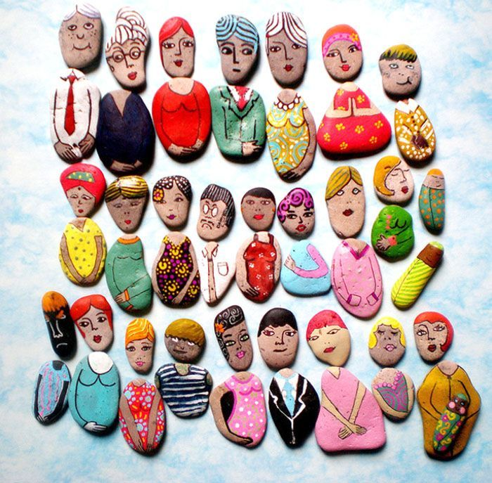 Piedras pintadas como personas. Puzles infantiles para combinar
