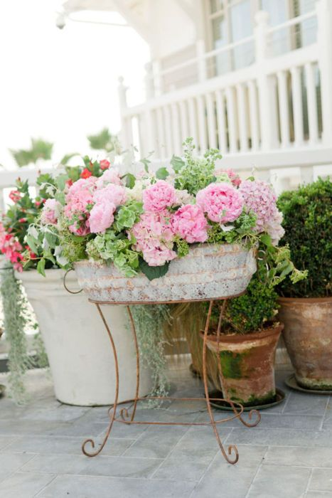 Great container for the front porch. :) Pink Roses and Teacups: Pink Saturday