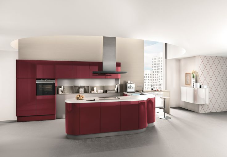 Add a splash of vibrant colour with the 4030 GL in Wine red high gloss lacquer! This handleless design glass front radiates pure elegance. Regardless of the time of day, the interplay of light and shade always gives it a particularly attractive look. #wine #red #kitchen #york #elegant #design #contemporary