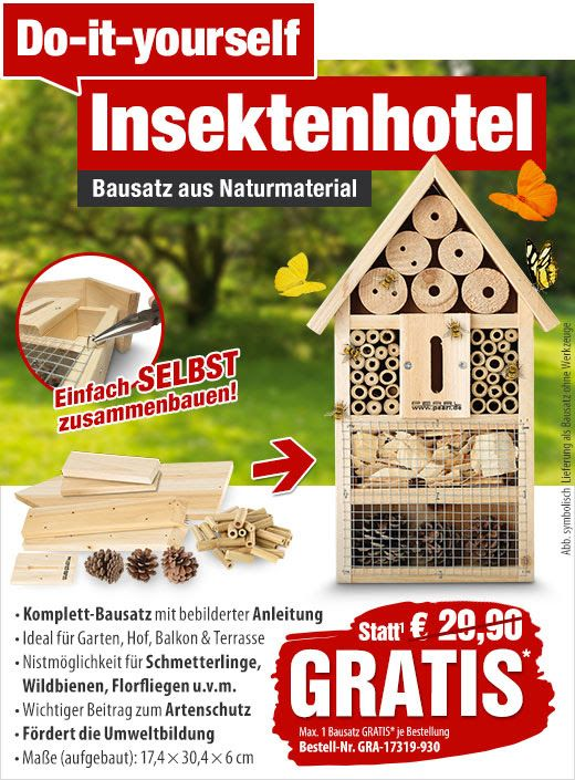 GRATIS statt 29,90 EUR: Insektenhotel-Bausatz aus Naturmaterial