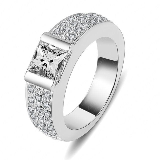 Lzeshine бренд обручальное кольцо ювелирные изделия платина покрыли площадь кольцо для мужчин и женщин бесплатная доставка Ri-HQ1040-B