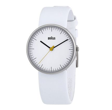 Ladies' analog watch, white face, white leather band, 3 hands   SHOP Cooper Hewitt. Price: $155.00