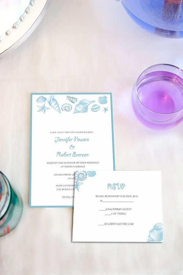 Cheap Starfish And Seashell Beach Wedding Invitation EWI405