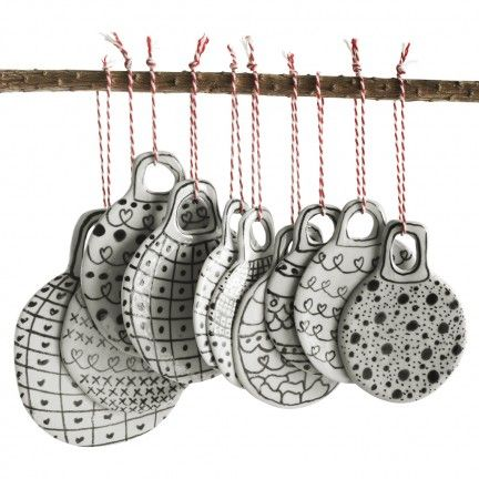 Flat Ceramic Christmas Baubles - emelie magdalena