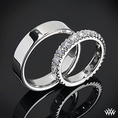 "Platinum eternity wedding band with 1.30ctw A CUT ABOVE® Hearts and Arrows diamonds alongside the simply elegant ""Comfort Fit Flat"" Mens Wedding Ring - the perfect couple"