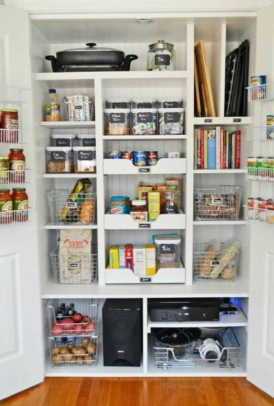 The Pantry AFTER. There are plenty of ideas here that I could put to work in my own closet pantry.