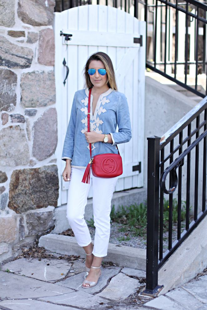 embroidered tunic + white denim