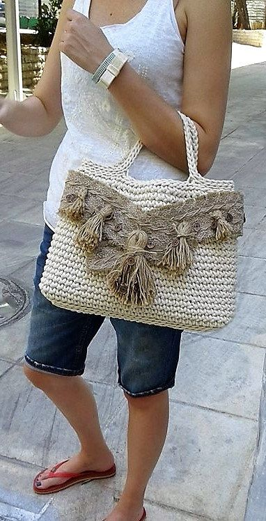 Oversize handmade tote Off-white crochet boho tote by MariliartbyM