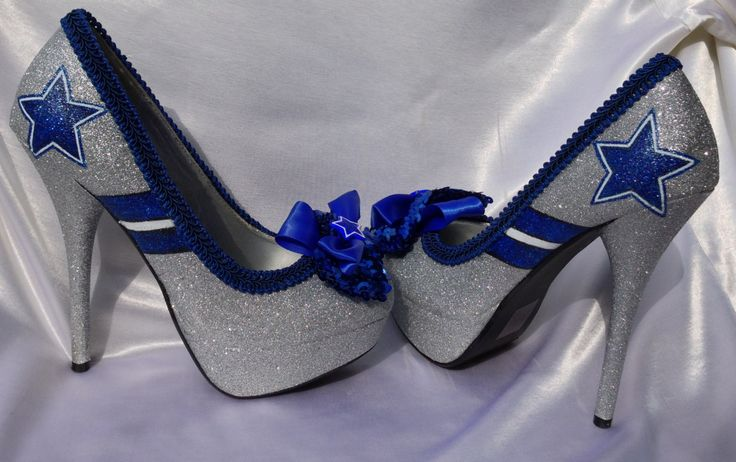 Omg i gotta hve these!! Dallas Cowboys NFL Football Heel by LetThemAllEatCake on Etsy, $125.00