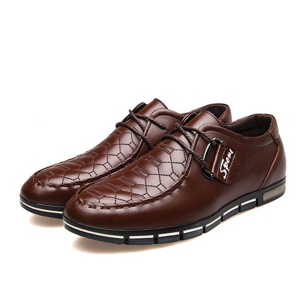 Men's Microfiber Leather Metal Buckle Decoration Flat Lace Up Casual Shoes