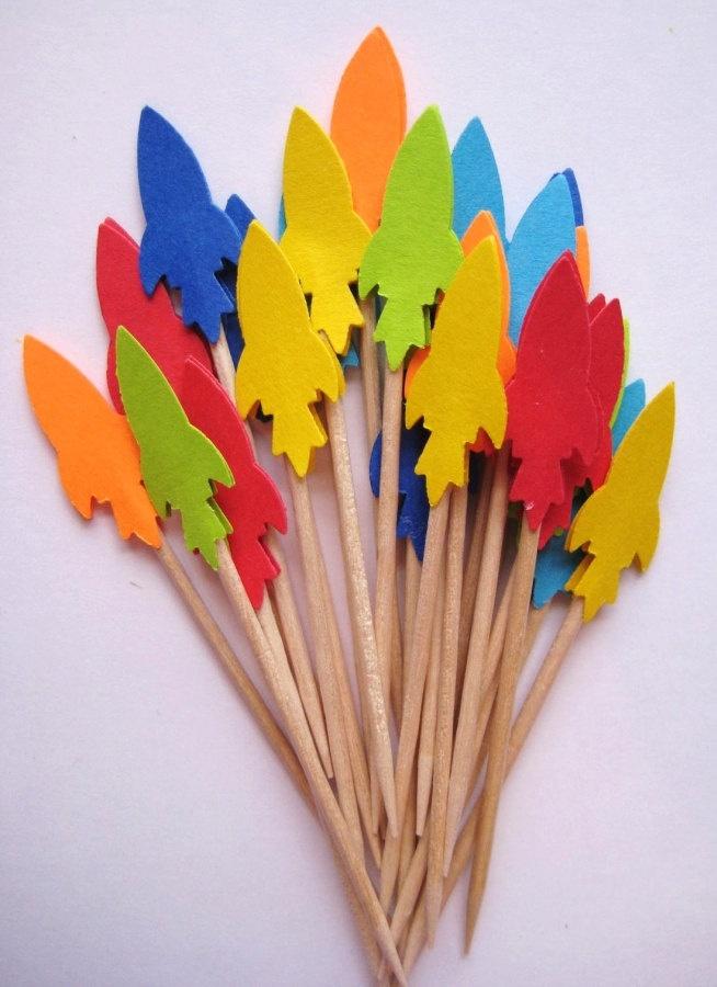 24 Rocket Spaceship Party Picks - Cupcake Toppers - Toothpicks - Food Picks - die cut punch FP172. $3.99, via Etsy.