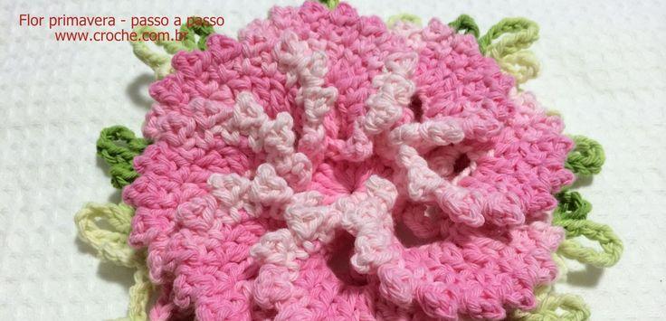 Flor primavera passo a passo   Croche.com.br