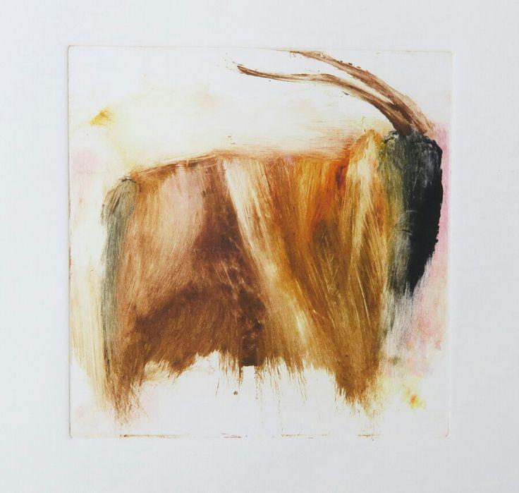 Oinas/Aries, 10x10cm, monotype by Riikka Soininen